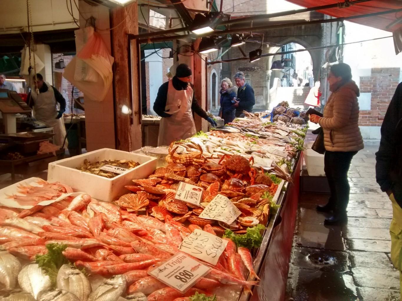Fish Market in Rialto with Cook In Venice