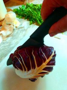 Radicchio chopping with Italian designed ceramic knives by U-Cook Italia