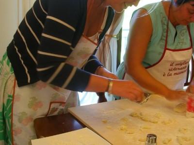 Students making gnocchi