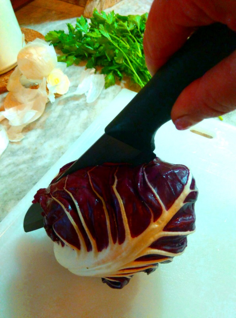 Radicchio chopping with Italian designed ceramic knives by U-Cook Italia